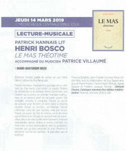 Bosco Lecture Malicroix 15.03.2019 Montpellier